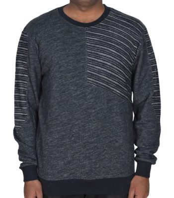 Men's Long Sleeve Sweat Shirt With Reverse Panel At Chest And Top